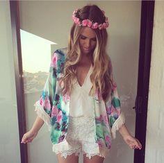 Lace shorts floral kaftan and floral headband