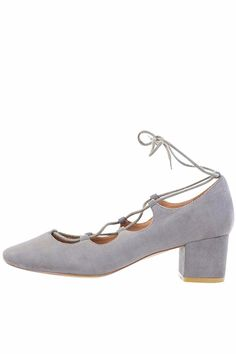 These beautiful midi pumps feature a chunky heel and corset style lace to give you the edgy but classy look. Man made sole lining and upper and faux suede exterior.  Heel Height is 5 cm.  Grey Midi Heel by gc shoes. Shoes - Pumps & Heels - Low Heel California New York City