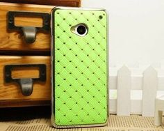 GREEN Rhinestone Diamond Bling Chrome Hard Cover Case for HTC One M7 freeshiping $5.99