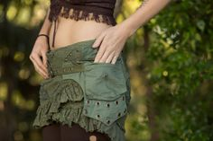 Tribal Beat Pocket Belt Green  Handmade Canvas and Cotton