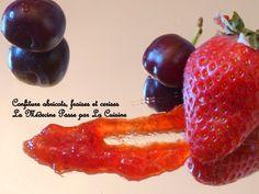 Confiture d'abricots, fraises et cerises C'est Bon, Stuffed Peppers, Vegetables, Food, Cherry Fruit, Jelly, Strawberry Fruit, Morning Breakfast, Red Berries