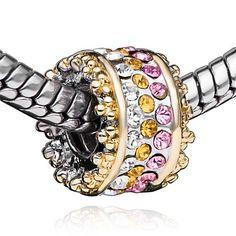 Pugster Swarovski Crystal Bead Bling Beads Fit Pandora Charm Bead Bracelet