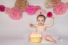 Rebekah Kay Photography Studio Windham, NH  Girl birthday cake smash