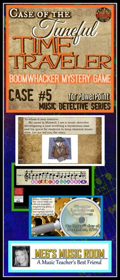 """The Case of the Tuneful Time Traveler"" for BOOMWHACKERS introduces students to reading music on the treble clef music staff. It is the 5th in my Music Detective series. THIS IS THE POWERPOINT VERSION. Students love the mystery and can't wait to complete Beethoven's challenge! #musicteacher #iteachmusic #musiceducation #musicclassroom #elmused #musicteacherlife #elementarymusicteacher #musicteachersofinstagram #instamusiced #musiced #elementarymusic"
