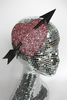 Burlesque fascinator heart in pale pink and black, Cupids Heart Black Friday Etsy Cyber Monday Etsy