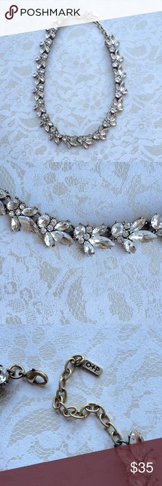 """HP[olive + piper] leaf motif rhinestone necklace Gorgeous leaf motif necklace in choker style. 17"""" long. Super cute for layering. Wear with white tops or fluffy sweaters this fall. Great condition. Olive + piper Jewelry Necklaces"""