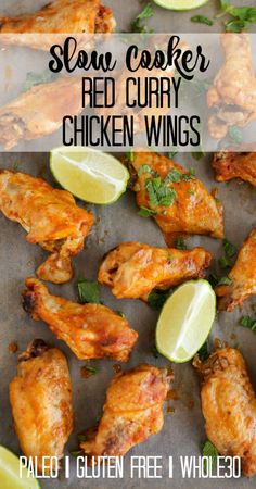 Slow Cooker Red Curry Chicken Wings! These are the tastiest chicken wings that you will ever make. Just throw everything in the slow cooker and you are all set to go!