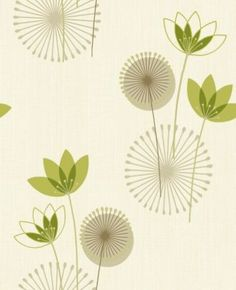 Akina (75461) - Albany Wallpapers - Akina is a contemporary flower vinyl motif. This retro-influenced design is brought to life with pools of mica and also stunning highlights of glitter. Shown in lime green on cream - more colours are available. Please request a sample for true colour matc
