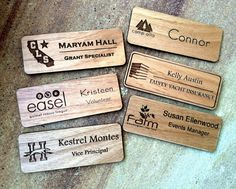 7 Name Tag Examples Ideas Name Tags Wooden Names Name Badges