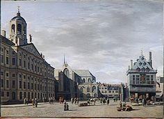 BERCKHEYDE, Gerrit, Le Dam avec le nouvel Hôtel de Ville d'Amsterdam, après 1655, huile sur toile, 56 x 40 cm, Musée du Louvre, Paris France