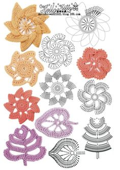 Crochet and arts: colorful flowers - illustration