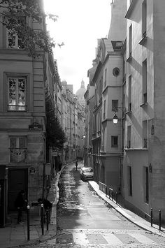"Rue de Bièvre, Paris  (""Our"" street - we stayed in an apartment in the building on the left.  A gorgeous little street with the Pantheon visible at the end of the street.)"