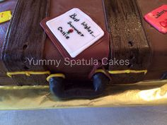 A leather suitcase cake by yummy spatula cakes. Strawberry cake with strawberry cream cheese. https://www.facebook.com/pages/Yummy-Spatula-Cakes/486226558104963