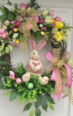 "Easter Bunny Wreath, Easter Wreath With Bunny, Sassy Doors Wreath, Designed on a 18"" Round Grapevine Wreath nestled among a variety of greenery and Easter eggs and spring flowers. Perfect for indoors along with your Easter decor. Our let this cute bunny greet your guest. Wreath"