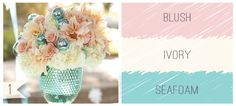 Blush, Ivory and Seafoam wedding colors.