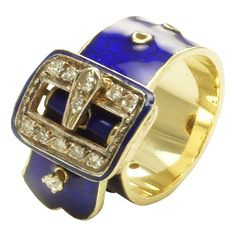 Estate Royal Blue Enamel Diamond 14k Gold Buckle Ring...