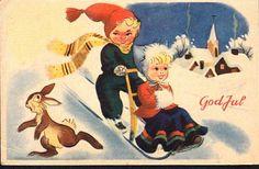 Julekort Jørgen Thorsrud utg Børrehaug og Remen brukt 1948 Christmas Cards, Christmas Postcards, Norway, Painting, Fictional Characters, Art, Christmas E Cards, Art Background, Xmas Cards