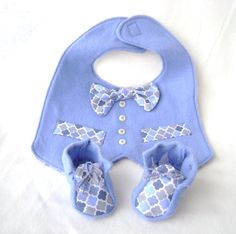 Blue Baby Boy Bib and  Coordinating Booties Set by TrenasPetites