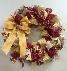 Iowa State Cyclones Wreath Burlap by KentuckyFraminglady on Etsy… Girls Night Crafts, Craft Night, Fun Crafts To Do, Diy Crafts, Fall Wreaths, Christmas Wreaths, State Crafts, Silk Arrangements, Iowa State Cyclones