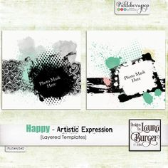 Happy - Artistic Expression TemplatesHappy - the best emotion one can have and always comes from the heart. I have decided to go back to my roots in what makes me happy which has always been a very eclectic type product and I think I have hit it on the nail with this product.  Includes: included 2 layered templates to get your groove on. Both tiff and psd format