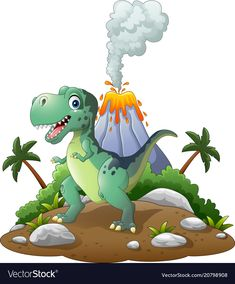illustration of Cartoon happy dinosaur in the prehistoric background - Millions of Creative Stock Photos, Vectors, Videos and Music Files For Your Inspiration and Projects. Dinosaur Posters, Dinosaur Images, Dinosaur Pictures, Cartoon Dinosaur, Pictures Of Dinosaurs, Dinosaur Drawing, Dinosaur Art, Cute Dinosaur, Dinosaur Birthday