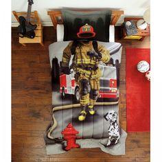 Boys Comforter Set Fire Fighter Twin Mini Bedding Comforter Set, Grey 2 Piece    #Generic