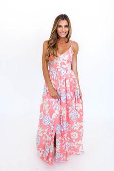 Pink Floral Open Back Maxi - Dottie Couture Boutique