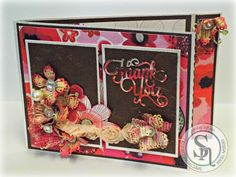 By Sandie Gough Die'sire Essentials Lace Flower die set Die'sire Essential Words – Thank You die Spectrum Sparkle Pens – Pink Champagne, Solar Red Crafter's Companion Ivory Stamping Card Sara Signature Love and Romance paper pad Coordination Neutral Paper pad Collal All Purpose Glue, Collal Tacky Glue Technique: Stick It – for Words die cut, heat embossed with clear embossing powder