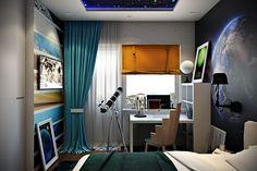 Dětský pokoj pro mladého astronoma, interiér místnosti v prostoru vesmíru - foto 3