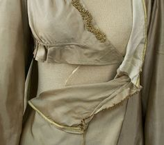 Crossover closure on silk dress,1810's. Originally from Vintage Textile