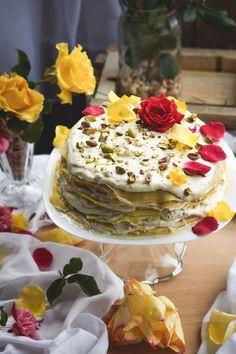 Rosewater and Pistachio Cream Crepe Cake.