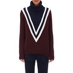 Tory Sport Women's V-Pattern Merino Wool-Blend Turtleneck Sweater (2.030 DKK) ❤ liked on Polyvore featuring tops, sweaters, burgundy, print sweater, turtle neck top, ski sweaters, print turtleneck and print top