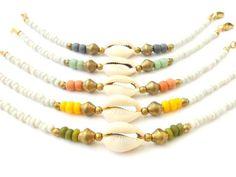 Boho Jewelry Seed Bead Bracelet w/ Cowrie Shell & African Brass - Bohemian Jewelry Tribal Jewelry Ethnic Jewelry - Seashell Tribal Bracelet