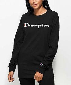 a2be30fcd8 Champion Script Logo Black Long Sleeve T-Shirt
