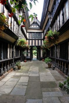The 16th century Fords Hospital Courtyard, Greyfriars Lane, Coventry, England  Founded by merchant William Ford in 1509 to provide accommodation for elderly people