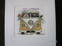 Campervan wedding card, personalized for the special couple.