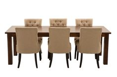 Manchester 2400 Dining Package with Gallery Chairs (Table: 2400W x 900D x 790H mm; Chairs: 560W x 660D x 990H mm) RRP $1,775