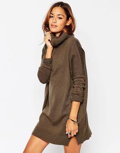 ASOS – Pulloverkleid mit hohem Kragen mit Reißverschluss