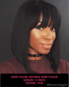 Darlene - Malaysian Human Hair Bob Haircut With Bangs - MFB002