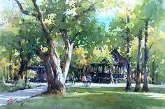 郭金昇,Feb 17 Watercolor Trees, Watercolor Sketch, Watercolor Portraits, Watercolor Landscape, Watercolour Painting, Landscape Paintings, Watercolors, Watercolor Architecture, Tree Art