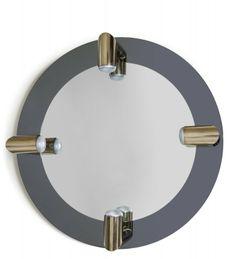 """NANDA VIGO Uno specchio da parete, circa 1971. PEZZO UNICO. Cristallo grigio specchiato, cristallo specchiato, quattro lampade a parete """"Geometral"""" di ARREDOLUCE. Diametro cm 100."""