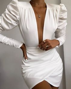 2020 Women Fashion Elegant Long Sleeve V Neck Solid Puff Sleeve Ruched Bodycon Dress White Office Ladies Mini Bodycon Dress Look Fashion, Womens Fashion, Fashion Tape, Fall Fashion, Latest Fashion, High Fashion, Elegantes Outfit, Mode Outfits, White Long Sleeve