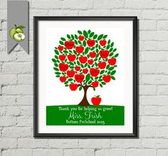 personalised teacher gift Teacher apple Tree Class Names, Teacher Appreciation Gift, End of year, Personalized, Customizable, 8x10 printable