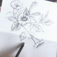 Flower drawing, moonflowers, flower illustration, pencil drawing, pencil sketch, flower art Tattoo Drawings, Pencil Drawings, Tattoos, Moon Phase Calendar, Vintage Art, Vintage Style, Wall Art Prints, Design Art, Body Art