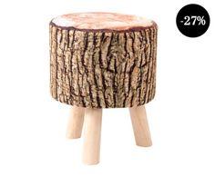 Reposapiés en madera de pino Tronco - marrón y blanco Home Living, Colonial, Stool, Furniture, Home Decor, Loft, Fake Flower Arrangements, Kitchen Furniture, Logs
