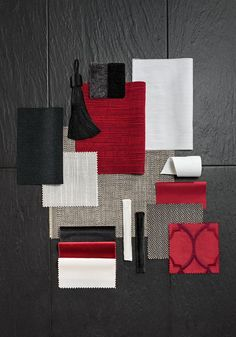 A moodboard is always an inspiration to interior design! Red Interiors, Colorful Interiors, Moodboard Interior, Interior Design Boards, Red Interior Design, Fabric Board, Material Board, Mood And Tone, Colour Board