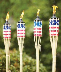 Frame your patio in patriotic style with these red, white and blue tiki torches. The 5-foot torches come four to a pack and feature refillable fuel canisters.