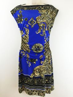 Carole Little 8 Dress Blue Beige Print Sleeveless Ruched Boat Neck Stretchy S M #CaroleLittle #Sheath #Casual