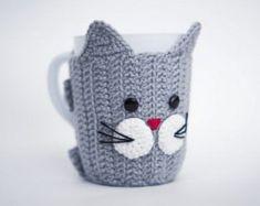 Crochet Mug Cozy with cup! Cat, Mug Warmer, Cup Cozy, Cup, Buttoned Mug Seater, Crochet Mug, Crochet Heart, Mug Heart