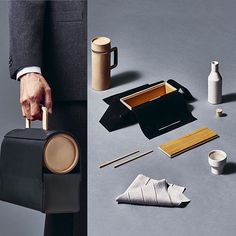 Yabu Pushelberg's contribution to the Handmade 2016: Hotel Wallpaper* - a Lunch Kit like no other. Created collaboration with Want Les Essentiels and Alissa Coe; the concept takes cues from Japanese bento boxes and fabric folding; a flexible leather shell unfolds to reveal a cedar box, a ceramic carafe, chopsticks and linen napkin.  Photo: @bbdestudio